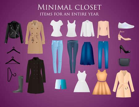 Projekt wektor ubrania. Zestaw elementów. Kolekcja odzieży Ilustracje wektorowe