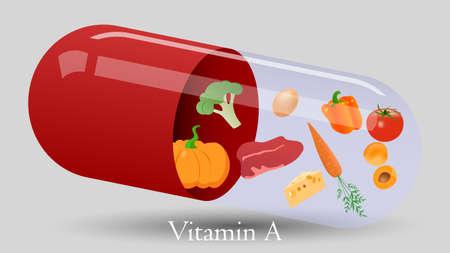 Vitamin pill vector design. Vitamin A vector illustration