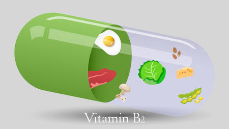 Vitamin pill vector design. Vitamin B2 vector illustration Illusztráció