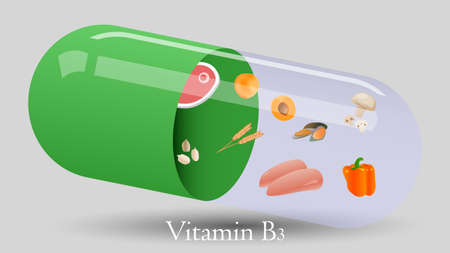 Vitamin pill vector design. Vitamin B3 vector illustration