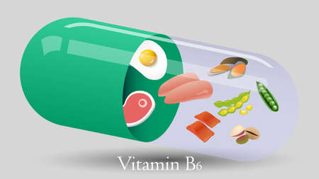 Vitamin pill vector design. Vitamin B6 vector illustration