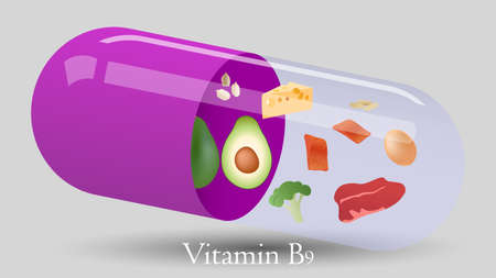Vitamin pill vector design. Vitamin B9 vector illustration