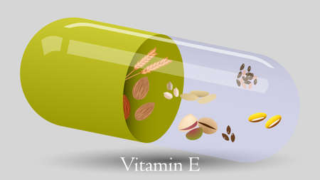Vitamin pill vector design. Vitamin E vector illustration