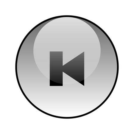 Multimedia player button glass icon vector design