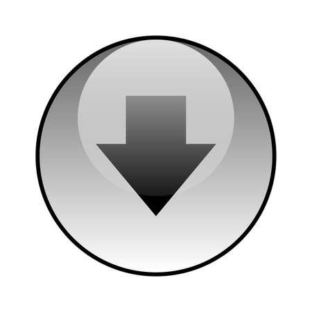 Arrow down glass icon vector design