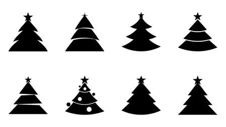 Christmas tree icons vector design. Set of Christmas trees isolated on white