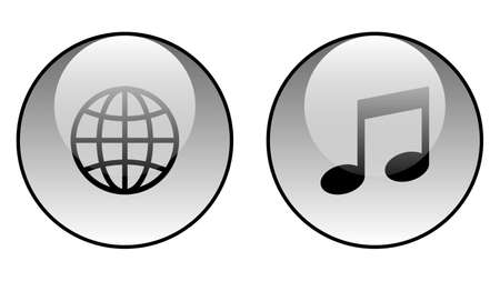Globe icon and music icon vector design. Couple of icons united by one topic
