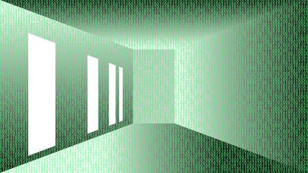 Binary code corridor abstract illustration vector design.