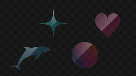 Transparent glass shapes vector design. Set of glass icons: star, heart, dolphin, circle