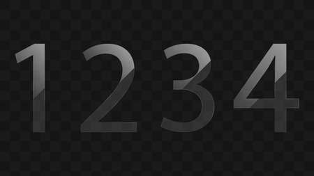 Transparent glass numbers vector design. One, two, three, four - figures vector Фото со стока - 131774624