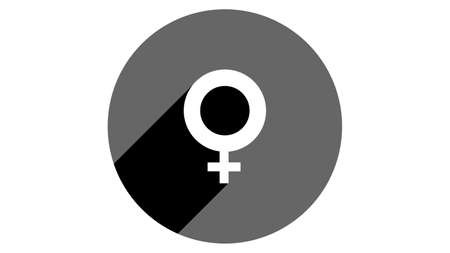 Female symbol icon, gender symbol. Flat icons vector design. Simple icons with shadows
