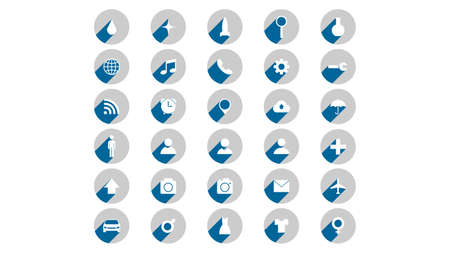 Flat icons vector design. Simple icons with shadows