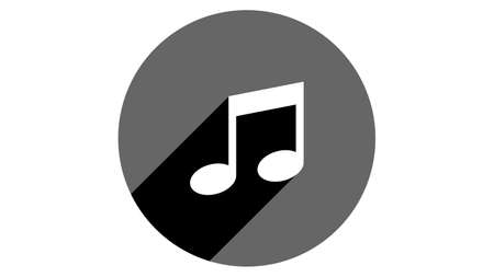 Note icon, music icon. Flat icons vector design. Simple icons with shadows Illusztráció