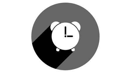 Alarm icon, clock icon. Flat icons vector design. Simple icons with shadows