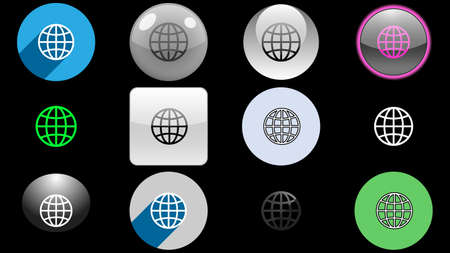 Globe icons collection, set of icons vector design. Different icon designs
