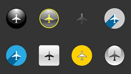 Plane set of icons vector design. Different icon designs Illusztráció