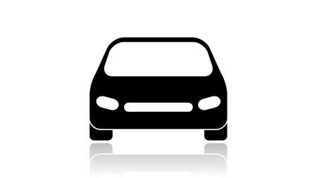 Car icon vector design. Black icon with reflection isolated on the white background