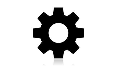 Gear icon vector design. Black icon with reflection isolated on the white background Illusztráció