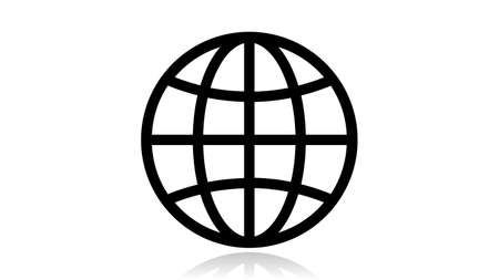 Globe icon vector design. Black icon with reflection isolated on the white background