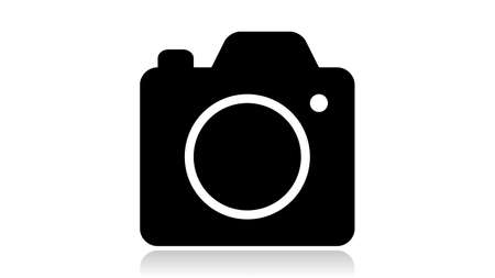 Camera icon vector design. Black icon with reflection isolated on the white background Illusztráció