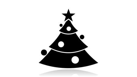 Christmas tree icon vector design. Black icon with reflection isolated on the white background