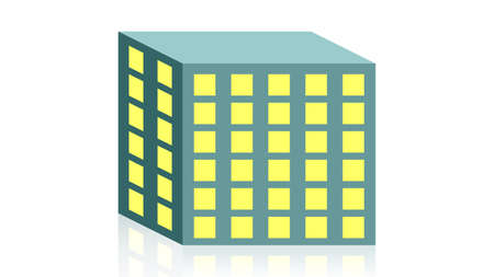 Real estate, building icon vector design. Black icon with reflection isolated on the white background