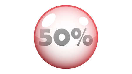 50% vector in red bubble. Sale banner isolated on white background vector design Illusztráció