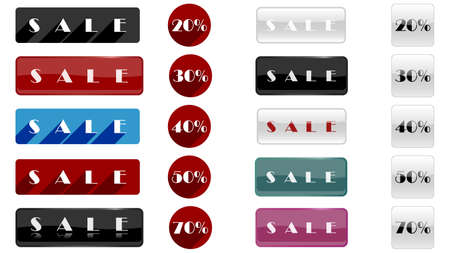 Big set of sales banner isolated on white background vector design. Sale collection