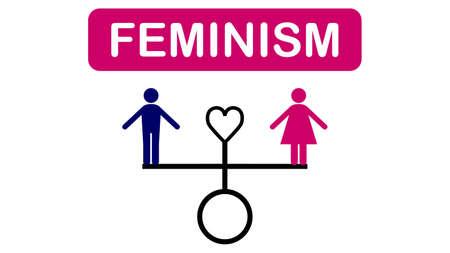 Feminism banner, gender equality. Feminism banner design Illusztráció