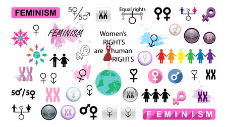 A collection of stickers on the theme of feminism. Vector image of feminist symbols. Illusztráció