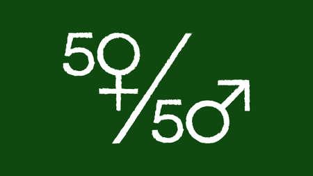 Gender equality symbol on a blackboard