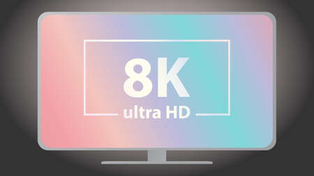The 8K inscription on the TV screen. HD quality vector design
