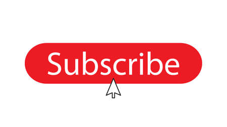 The subscribe button isolated on white background with cursor in the center Illusztráció
