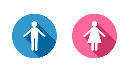 Two icons with figures of a man and a woman. Vector design of gender symbols icons