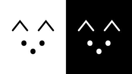 The cutest cat face logo design. MInimalist black and white animal logo
