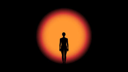 Abstract vector illustration of a human standing in front of mysterious light on the threshold of unknown Illusztráció