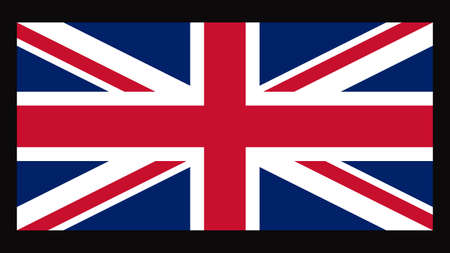 National flag of UK, 1:2 proportion. The basic design of the current British flag