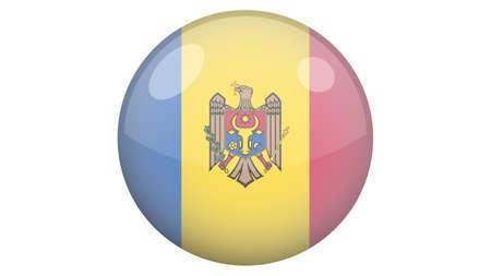 National flag of Moldova in icon design. Moldovan flag vector