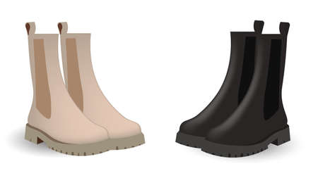 Chelsea boots of two colors: beige and black. Light color chelsea, black chelsea. Caplsule wardrobe 2021 vector design. 矢量图像