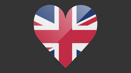 Heart shaped national flag of UK icon design. British flag heart vector