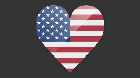 Heart shaped national flag of USA icon design. American flag heart vector