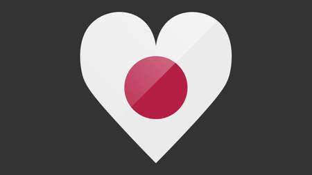 Heart shaped national flag of Japan icon design. Japanese flag heart vector