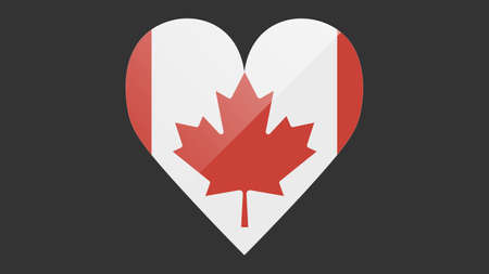 Heart shaped national flag of Canada icon design. Canadian flag heart vector