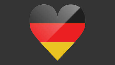 Heart shaped national flag of Germany icon design. German flag heart vector