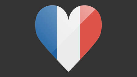 Heart shaped national flag of France icon design. French flag heart vector