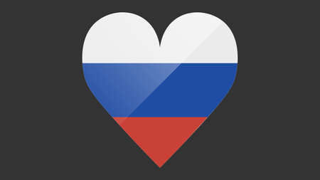Heart shaped national flag of Russia icon design. Russian flag heart vector
