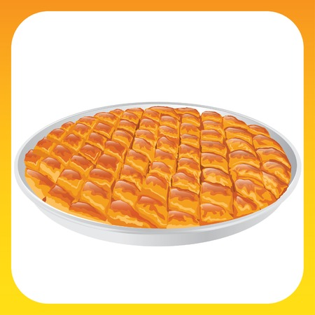 A tray of traditional Turkish Baklava. Vector illustration.