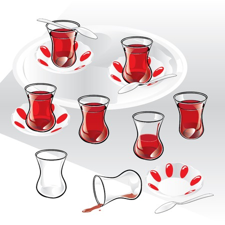 Set of Turkish tea and components.  Illustration