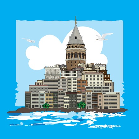 Galata Tower view from seaside with nearby buildings. Vector illustration. Illustration