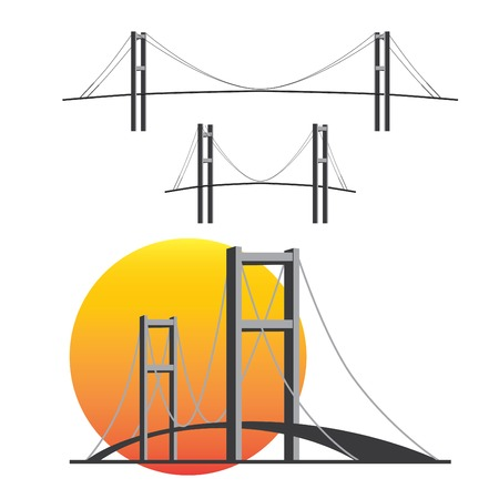 intercontinental: The Bosphorus Bridge in Istanbul, Turkey. Vector illustration.